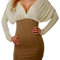 Assure Me (Taupe/Cream)-Great Glam is the web's best online shop for trendy club styles, fashionable party dresses and dress wear, super hot clubbing clothing, stylish going out shirts, partying clothes, super cute and sexy club fashions, halter and tube