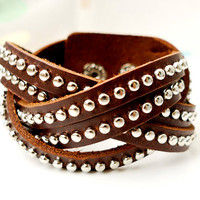 Brown Leather Cuff  With Silver Rivets Weaving Bracelet