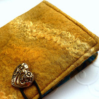 Hand Felted Mini Note Book Cover. Pocket Journal. Golden Heart