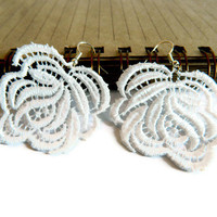 White Lace Earrings, Wedding Jewelry, Woman Accessories, Rose, Rose lace earrings, Bridesmaid Accessories...