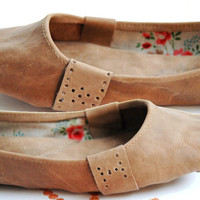 Mud brown soft handmade custom genuine leather ballet flat shoes