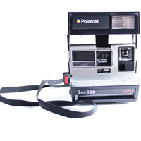 Vintage Polaroid Camera - Black & Silver 1980s Sun 600 LMS Photography / Bright Lights