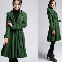 Green wool coat long women jacket (401)