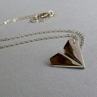Silver Origami Paper Airplane Charm Necklace, Harry Styles, One Direction