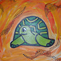Turtle Art Painting 9x12, kids wall art, original painting, decorative turtle art