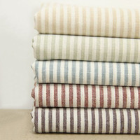 "Set for 5 color, Fat Quarter Bundle Fabric Stripe Fabric Bundle Stripe Cotton Linen Fabric Bundle  - each 18""x18"""