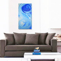 EMBRACE original abstract modern painting - gallery fine art - contemporary interior design - ooak home wall decor - blue white silver