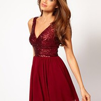 Elise Ryan Sequin Panel Mesh Skater Dress at asos.com