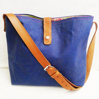 OTTOBAGS Blue Waxed Canvas Tote - Leather Single Strap Shoulder bag / Tote Bag / Diaper Bag / Messenger Bag - Flower Patterned Lining