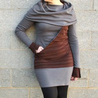 Huge cowl neck dress with kangaroo pocket by cotylee on Etsy