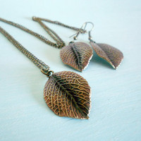 DAINTINESS Autumn Leaf Necklace & Earrings Woodland Matching Set in Antique Brass and Copper Gilder's Paste from Dryad Dreams