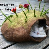 "wonderful felted cat cave ""flowers and grass on top"""