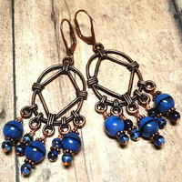 Czech Blue Tiger Eye and Copper Chandelier Hypoallergenic Earrings