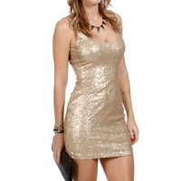 Gold Sequin Tank Dress