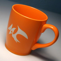 Pterodactyl Mug - Tangerine Orange - large ceramic dinosaur coffee cup