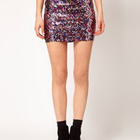 ASOS Mini Skirt in Multi Sequins at asos.com