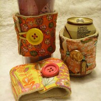 Reusable Upcycled Drink Cozies by FreeLovinThingery on Etsy