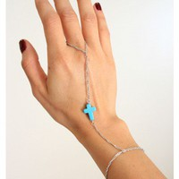 Tiny Turquoise Cross Hand Chain Bracelet