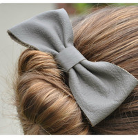 Gray leather Bow Hair Clip