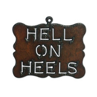 Rustic, Recycled Metal Hell on Heels Buckle Large Pendant Charm Christmas Ornament Jewelry Supplies