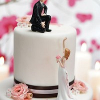 Reaching Bride and Helpful Groom Mix  Match Cake Toppers - Wedding Collectibles