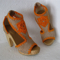 Platform Clog Shoe Beige Suede with Orange Crochet by karenkell