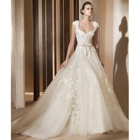 2012 Cap Sleeves Lace Satin Organza Wedding Gown - Star Bridal Apparel