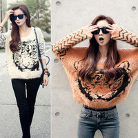 Fashion Girls Batwing Knit Long Jumper Pullover Casual Tops Tiger Print Sweater