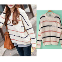 Women's Fashion Bulky Striped Dumpy Baggy Pocket Knitted Jumper Sweater Knitwear