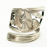 Spoon Ring Art Nouveau Hand Engraved Morning Glory Sterling Silver, Handmade to your size (2735)