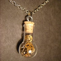 Steampunk Necklace- Gears and Watch Parts in a Glassbulb Vial (618)