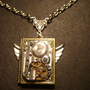 Steampunk Neo Victorian Watch Movement LOCKET Necklace with Wings (621)