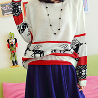 White Long Sleeve Deer Print Loose Pullovers Sweater$45.00