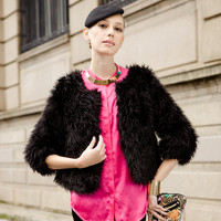Black Three Quarter Length Fur Short Jacket$127.00