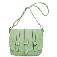 Green Fashion Shoulder Bag With Leather$46.00