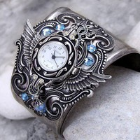 Angel Cuff Watch in Aquamarine by Aranwen on Etsy