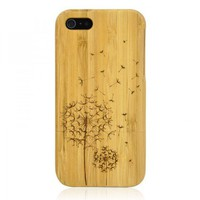 Hand Carved Bamboo iPhone 5 Case -Dandelion  by Julyjoy