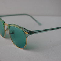 1980s Green Clubmaster Vintage Deadstock Wayfarer Gold Sunglasses A4