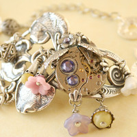Steampunk Garden Bracelet Altered Art by designsbloom on Etsy