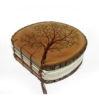 Branch of Life - Rustic Round Natural Bark Bradford Pear Log Slice Wooden Journal by Tanja Sova