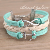 bracelet, mint green bracelet, mint green leather , infinity bracelet,anchor bracelet,  bridesmaid bracelet, friendship  christmas gift
