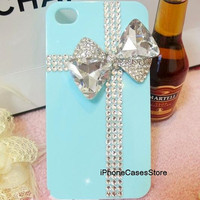 iphone case tiffany box iphone case crystal cross iphone 4 case Bling rhinestone bow iphone 4 cover tiffany blue iphone 5 case 4s ribbon