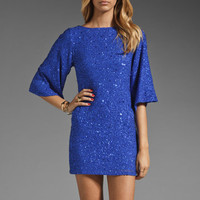 Alice + Olivia Lari Bell Sleeve Sequin Tunic Dress in Cobalt from REVOLVEclothing.com