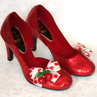 Cherry Bombshell - Burlesque Cherry Embellished Ruby Slippers size 39 / UK 6 / US 8.5