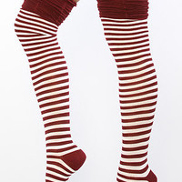 The Over The Knee Rouched Top Sock in Red & White