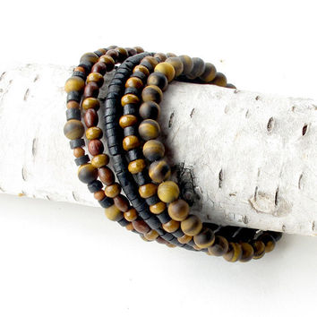 Wood beaded bracelet stack 5 stacking bangles in one wrap around coil