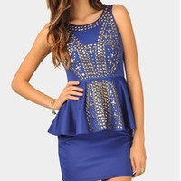 Melanie Studded Dress - Royal Blue   — Tanny's Couture LLC