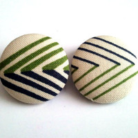 Abstract olive green and navy blue diamond button earrings