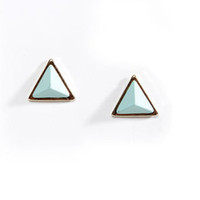 Giza Louise-a Mint Green Pyramid Earrings