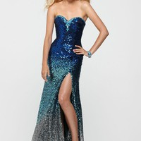 Clarisse 2163 Strapless Ombre Prom Dress